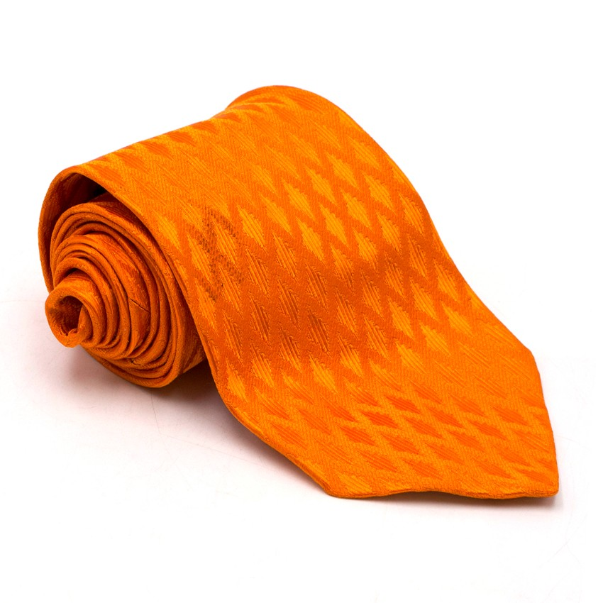 Barneys New York Bright Orange Textured Silk Tie